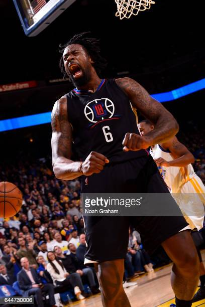 DeAndre Jordan of the LA Clippers reacts during the game against the Golden State Warriors on February 23 2017 at ORACLE Arena in Oakland California...