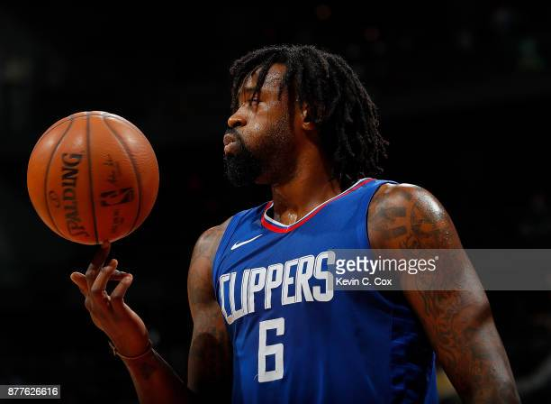 DeAndre Jordan of the LA Clippers reacts during the game against the Atlanta Hawks at Philips Arena on November 22 2017 in Atlanta Georgia NOTE TO...