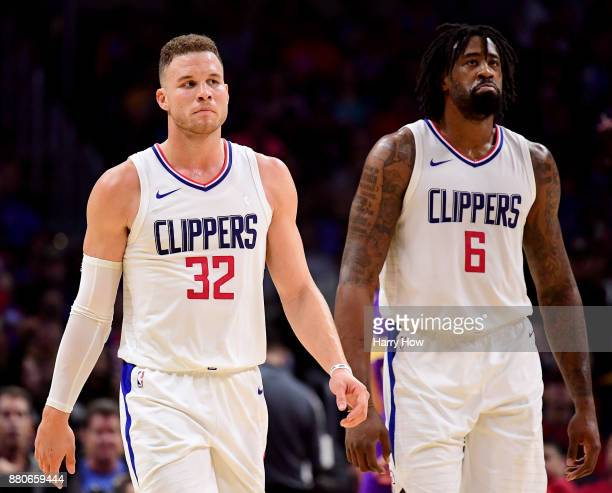 DeAndre Jordan of the LA Clippers reacts to his foul with Blake Griffin during the first half against the Los Angeles Lakers at Staples Center on...
