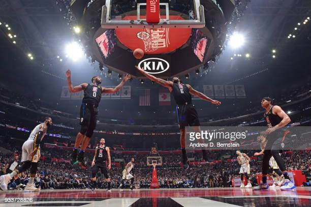 DeAndre Jordan of the LA Clippers rebounds the ball during the game against the Cleveland Cavaliers on March 9 2018 at STAPLES Center in Los Angeles...