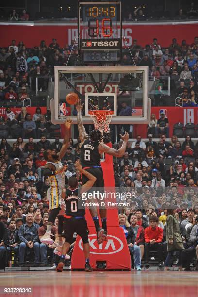 DeAndre Jordan of the LA Clippers shoots the ball during the game against the Cleveland Cavaliers on March 9 2018 at STAPLES Center in Los Angeles...