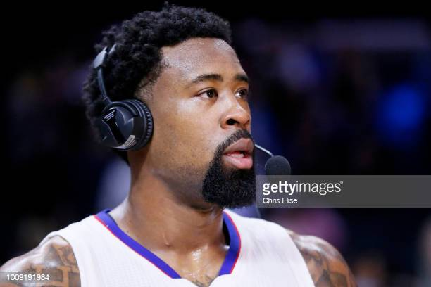 DeAndre Jordan of the LA Clippers speaks to the media after the game against the Houston Rockets on February 11 2015 at the STAPLES Center in Los...