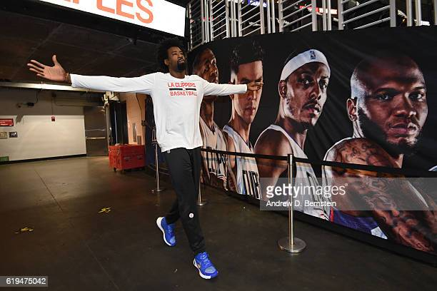 DeAndre Jordan of the LA Clippers walks onto the court before the game against the Utah Jazz on October 30 2016 at STAPLES Center in Los Angeles...