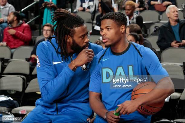DeAndre Jordan of the Dallas Mavericks and Dennis Smith Jr #1 of the Dallas Mavericks seen prior to the game against the Oklahoma City Thunder on...