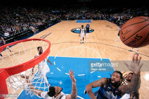 DeAndre Jordan of the Dallas Mavericks puts up shot against the New Orleans Pelicans on December 26 2018 at the American Airlines Center in Dallas...