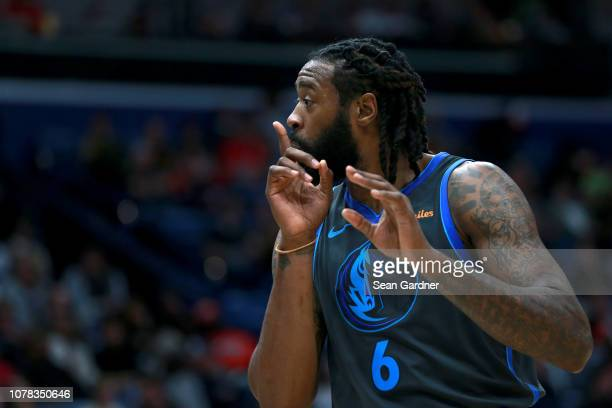 DeAndre Jordan of the Dallas Mavericks reacts to a call during a NBA game New Orleans Pelicans at the Smoothie King Center on December 05 2018 in New...