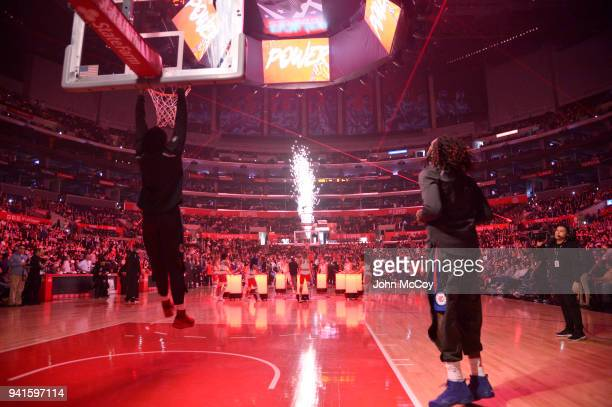 DeAndre Jordan of the Los Angeles Clippers and Montrezl Harrell warm up during pregame activities at Staples Center on April 1 2018 in Los Angeles...