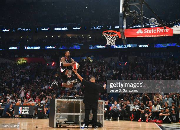 DeAndre Jordan of the Los Angeles Clippers attempts a dunk during the Verizon Slam Dunk Contest as part of 2017 AllStar Weekend at the Smoothie King...