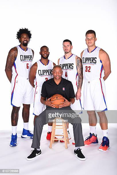 DeAndre Jordan of the Los Angeles Clippers Chris Paul of the Los Angeles Clippers head coach Doc Rivers of the Los Angeles Clippers JJ Redick of the...