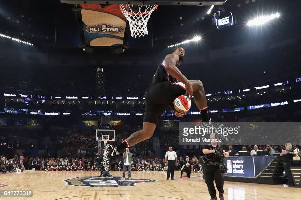 DeAndre Jordan of the Los Angeles Clippers competes in the 2017 Verizon Slam Dunk Contest at Smoothie King Center on February 18 2017 in New Orleans...