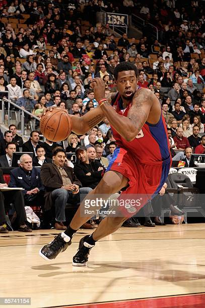 DeAndre Jordan of the Los Angeles Clippers drives against the Toronto Raptors during the game on March 22 2009 at Air Canada Centre in Toronto Canada...