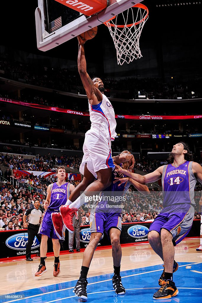 DeAndre Jordan #6 of the Los Angeles Clippers dunks against Luis Scola #14 of the Phoenix Suns at Staples Center on April 3, 2013 in Los Angeles, California.