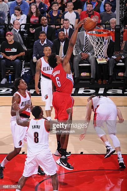 DeAndre Jordan of the Los Angeles Clippers dunks against Portland Trail Blazers on November 20 2015 at the Moda Center Arena in Portland Oregon NOTE...