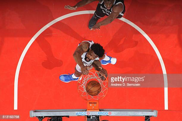 DeAndre Jordan of the Los Angeles Clippers dunks against the Brooklyn Nets during the game on February 29 2016 at Staples Center in Los Angeles...