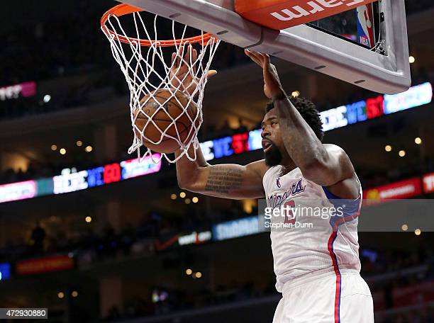 DeAndre Jordan of the Los Angeles Clippers dunks against the Houston Rockets during Game Four of the Western Conference semifinals of the 2015 NBA...