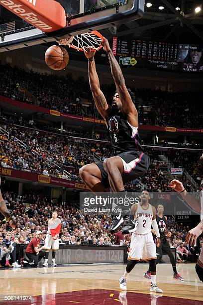 DeAndre Jordan of the Los Angeles Clippers dunks against the Cleveland Cavaliers on January 21 2016 at Quicken Loans Arena in Cleveland Ohio NOTE TO...