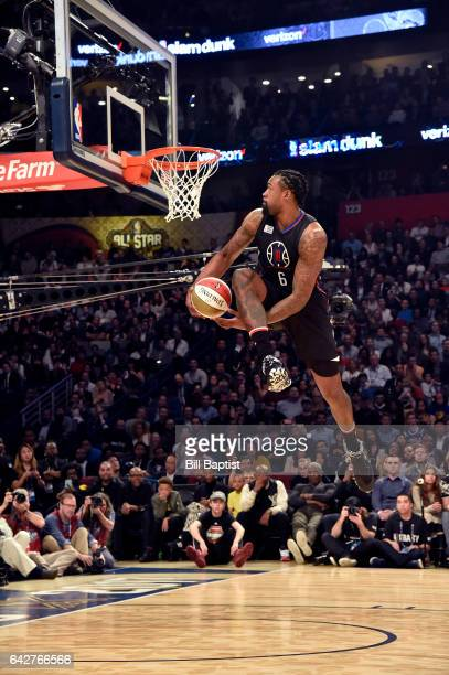 DeAndre Jordan of the Los Angeles Clippers dunks during the Verizon Slam Dunk Contest on State Farm AllStar Saturday Night as part of the 2017 NBA...