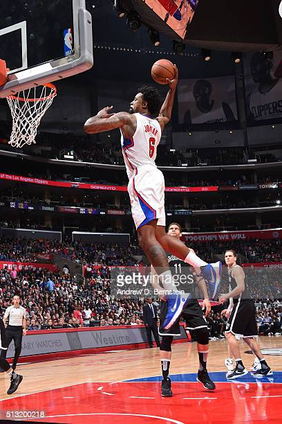 DeAndre Jordan of the Los Angeles Clippers dunks the ball against the Brooklyn Nets at STAPLES Center on February 29 2016 in Los Angeles California...