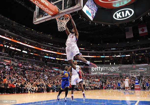 DeAndre Jordan of the Los Angeles Clippers dunks the ball during the game between the Los Angeles Clippers and the Golden State Warriors at Staples...