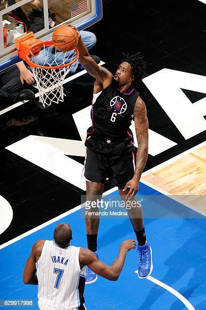 DeAndre Jordan of the Los Angeles Clippers dunks the ball during the game against the Orlando Magic on December 14 2016 at Amway Center in Orlando...