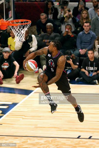 DeAndre Jordan of the Los Angeles Clippers dunks the ball during the Verizon Slam Dunk Contest during State Farm AllStar Saturday Night as part of...