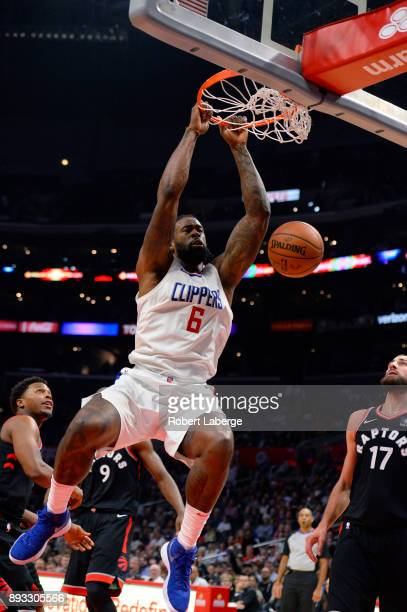 DeAndre Jordan of the Los Angeles Clippers dunks the ball during the game against the Toronto Raptors on December 11 2017 at STAPLES Center in Los...