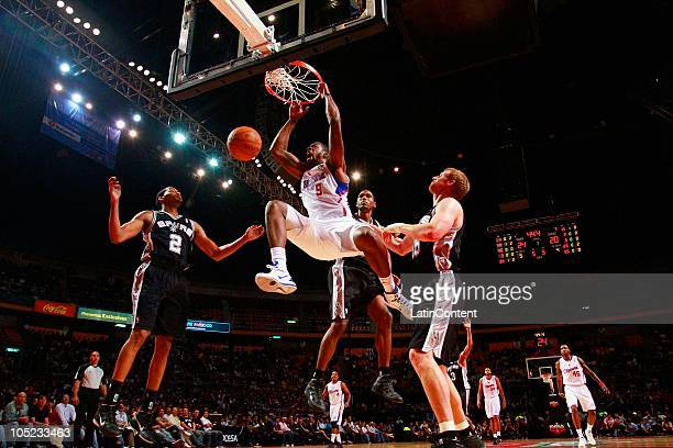 DeAndre Jordan of the Los Angeles Clippers during a preseason game against San Antonio Spurs on October 12 2010 at the Palacio de los Deportes Mexico...