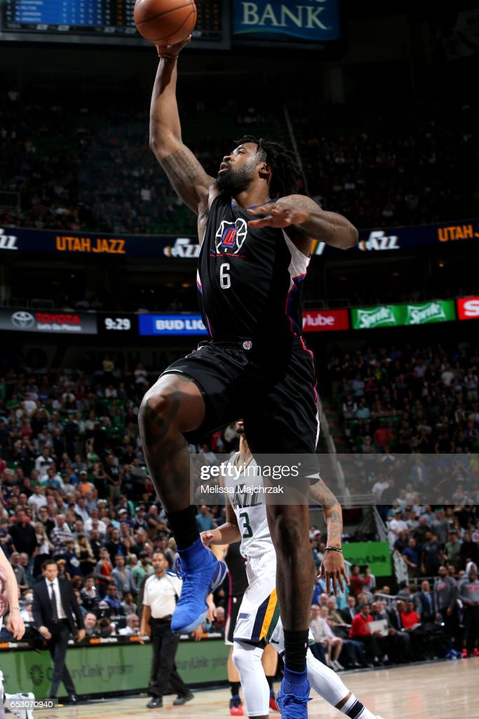 DeAndre Jordan #6 of the Los Angeles Clippers goes for a dunk during the game against the Utah Jazz on March 13, 2017 at EnergySolutions Arena in Salt Lake City, Utah.