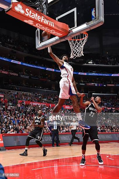 DeAndre Jordan of the Los Angeles Clippers goes for the dunk against the Brooklyn Nets during the game on February 29 2016 at Staples Center in Los...