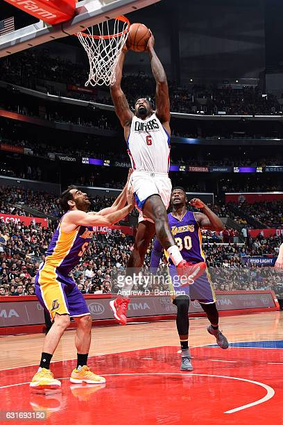 DeAndre Jordan of the Los Angeles Clippers goes for the dunk during the game against the Los Angeles Lakers on January 14 2017 at STAPLES Center in...