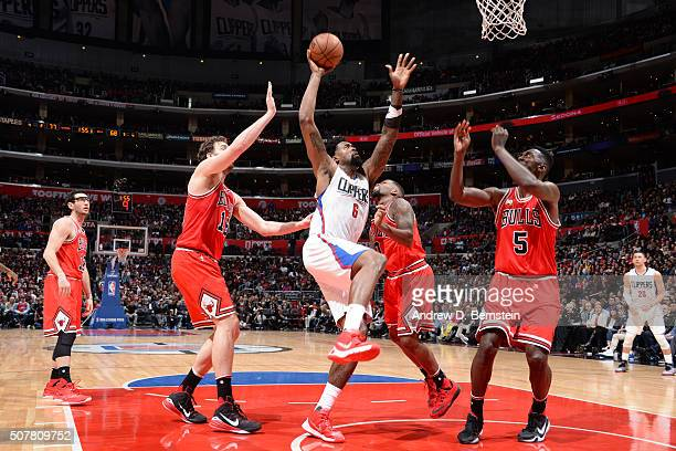 DeAndre Jordan of the Los Angeles Clippers goes up for a dunk against the Chicago Bulls on January 31 2016 at STAPLES Center in Los Angeles...