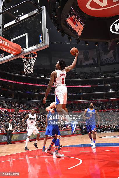 DeAndre Jordan of the Los Angeles Clippers goes up for a dunk against the New York Knicks on March 11 2016 at STAPLES Center in Los Angeles...