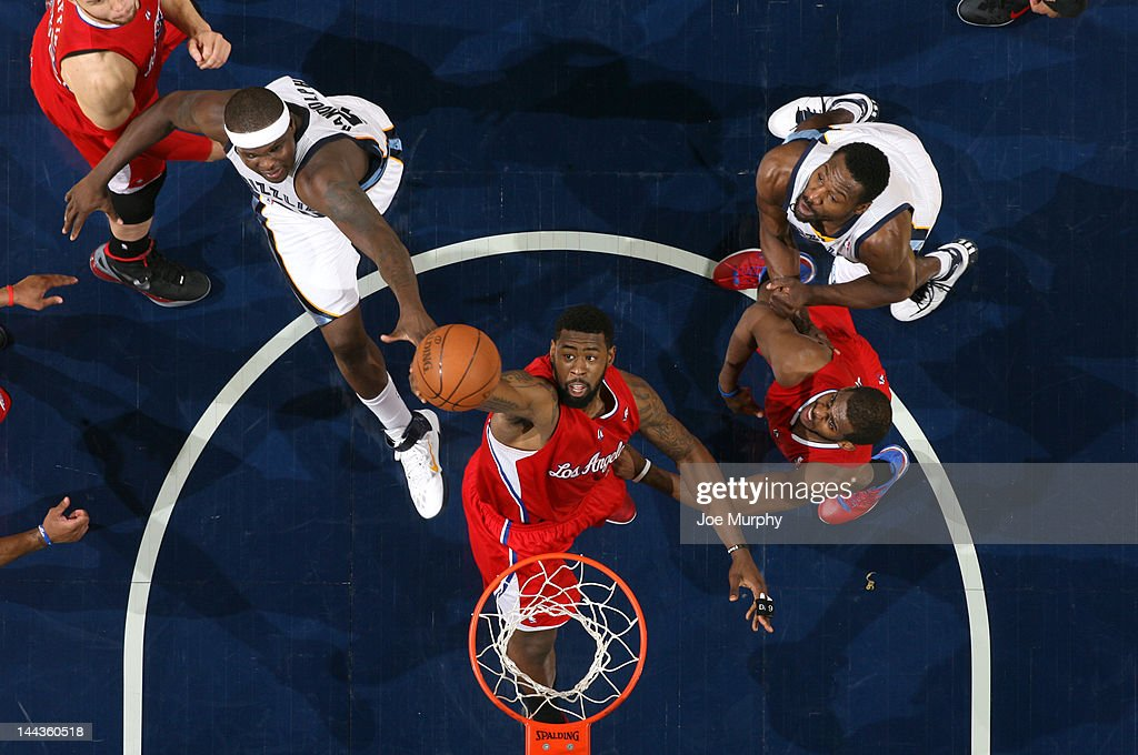 DeAndre Jordan #6 of the Los Angeles Clippers grabs a rebound against Zach Randolph #50 of the Memphis Grizzlies in Game Seven of the Western Conference Quarterfinals during the 2012 NBA Playoffs on May 13, 2012 at FedExForum in Memphis, Tennessee.