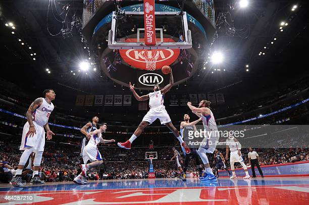 DeAndre Jordan of the Los Angeles Clippers grabs the rebound against the Memphis Grizzlies during the game on February 23 2015 at STAPLES Center in...