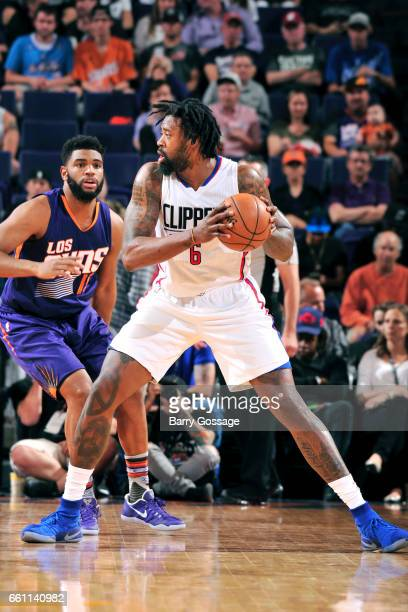 DeAndre Jordan of the Los Angeles Clippers handles the ball during the game against the Phoenix Suns on March 30 2017 at US Airways Center in Phoenix...