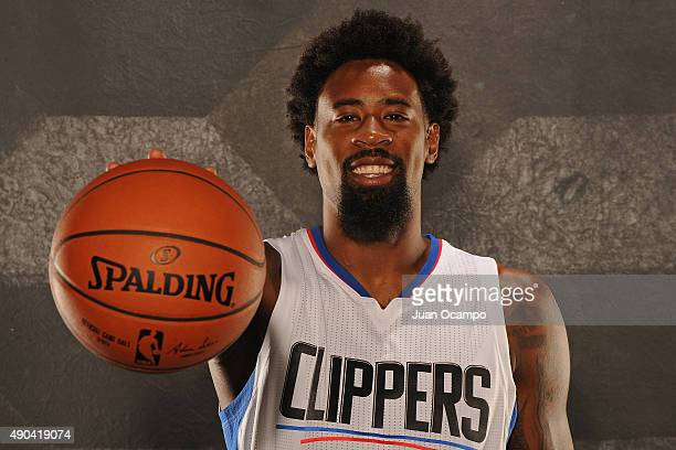 DeAndre Jordan of the Los Angeles Clippers poses for a portrait during media day at the Los Angeles Clippers Training Center on September 25 2015 in...