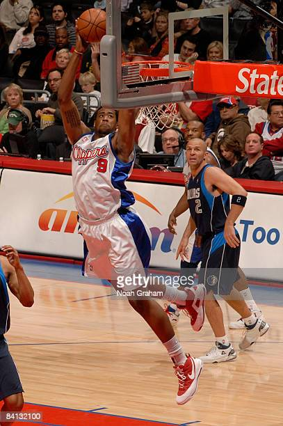 DeAndre Jordan of the Los Angeles Clippers pulls down a rebound during a game against the Dallas Mavericks at Staples Center on December 28 2008 in...
