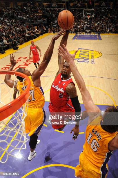 DeAndre Jordan of the Los Angeles Clippers rises for a dunk against the Los Angeles Lakers at Staples Center on December 19 2011 in Los Angeles...