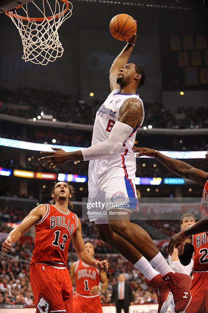 8134ba010724 DeAndre Jordan of the Los Angeles Clippers rises for a dunk against ...