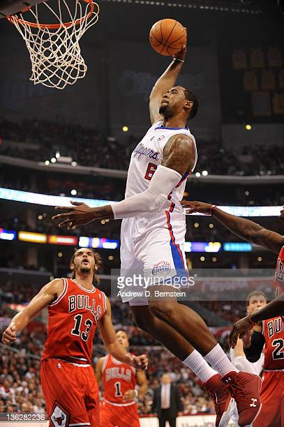 DeAndre Jordan of the Los Angeles Clippers rises for a dunk against the Chicago Bulls at Staples Center on December 30 2011 in Los Angeles California...