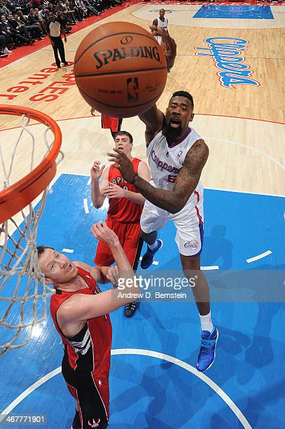 DeAndre Jordan of the Los Angeles Clippers shoots during a game against the Toronto Raptors at STAPLES Center on February 7 2014 in Los Angeles...