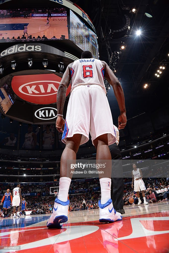 DeAndre Jordan #6 of the Los Angeles Clippers stands baseline in a game against the New York Knicks at Staples Center on November 27, 2013 in Los Angeles, California.