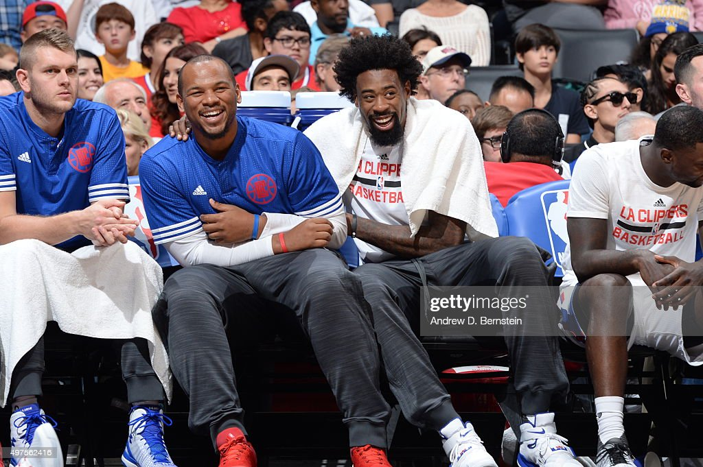 DeAndre Jordan #6 of the Los Angeles Clippers talks with Chuck Hayes #44 of the Los Angeles Clippers during the game against the Golden State Warriors on October 20, 2015 at STAPLES Center in Los Angeles, California.
