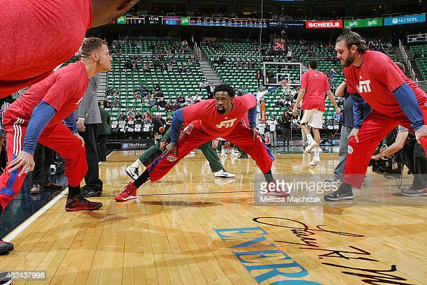DeAndre Jordan of the Los Angeles Clippers warms up before the game against the Utah Jazz at EnergySolutions Arena on January 28 2015 in Salt Lake...