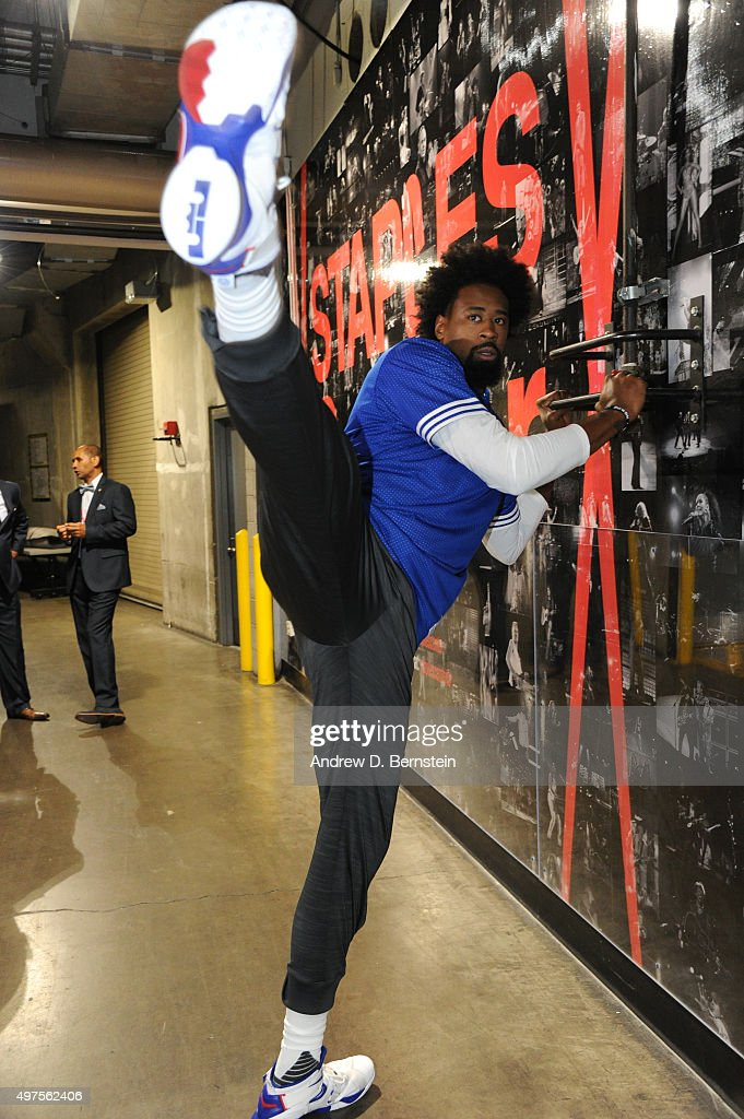 DeAndre Jordan #6 of the Los Angeles Clippers warms up before the game against the Golden State Warriors at STAPLES Center on October 20, 2015 in Los Angeles, California.
