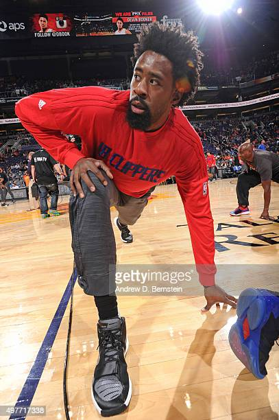 DeAndre Jordan of the Los Angeles Clippers warms up before the game against the Phoenix Suns at Talking Stick Resort Arena on November 12 2015 in...