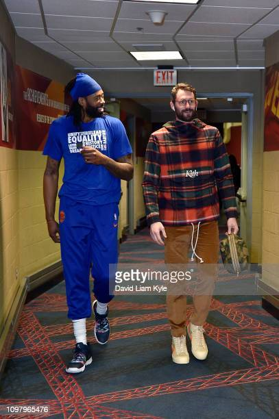 DeAndre Jordan of the New York Knicks and Kevin Love of the Cleveland Cavaliers arrive before the game on February 11 2019 at Quicken Loans Arena in...