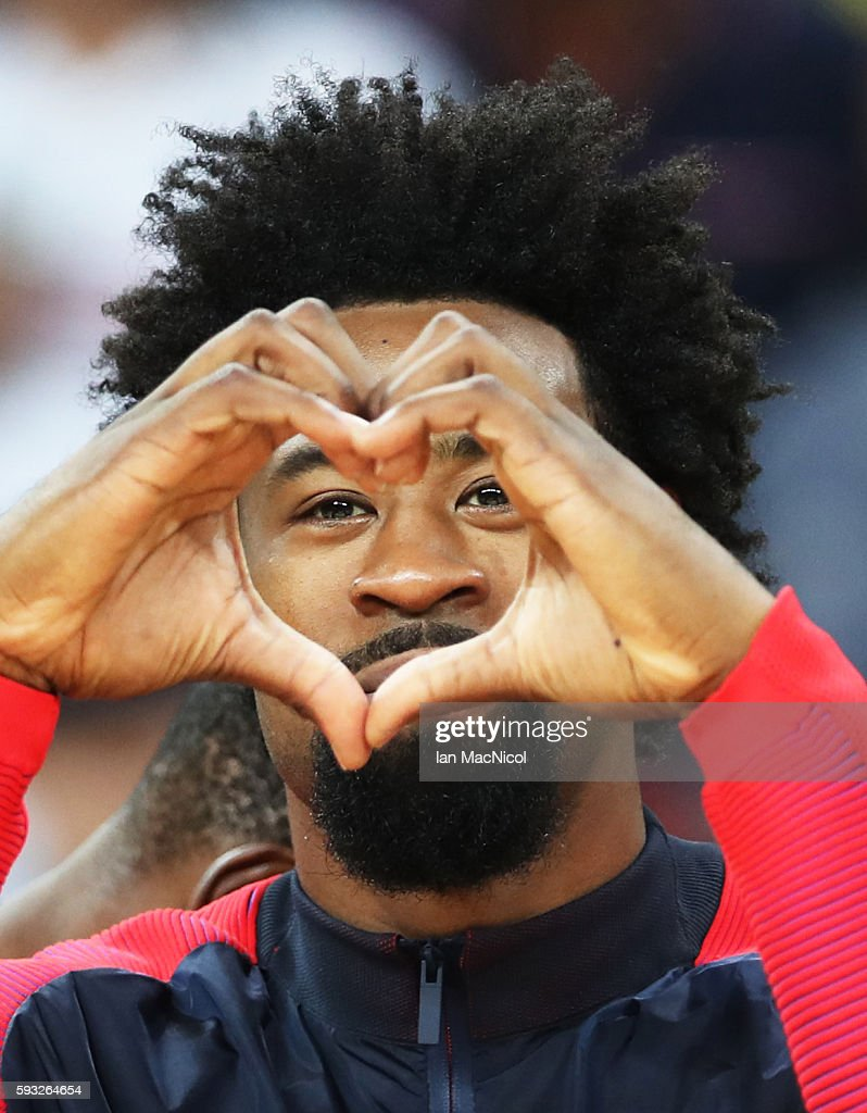 DeAndre Jordan of the United States gestures after the final match of the Men's basketball between Serbia and United States on day 16 at Carioca Arena 1 on August 21, 2016 in Rio de Janeiro, Brazil.