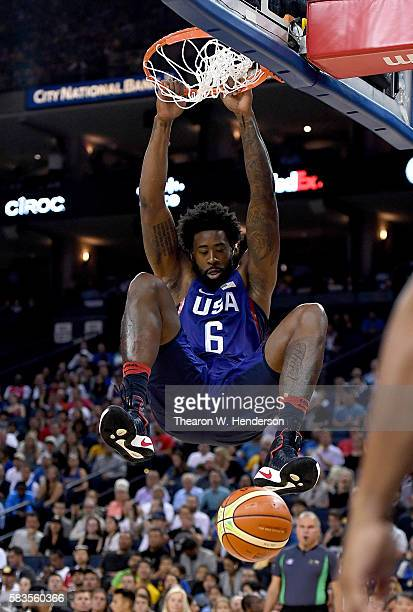 DeAndre Jordan of the United States Men's National Team goes up for a slam dunk against the China Men's National Team during the first half of a USA...