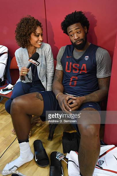 DeAndre Jordan of the USA Basketball Men's National Team speaks to ESPN following a practice on July 18 2016 at Mendenhall Center on the University...